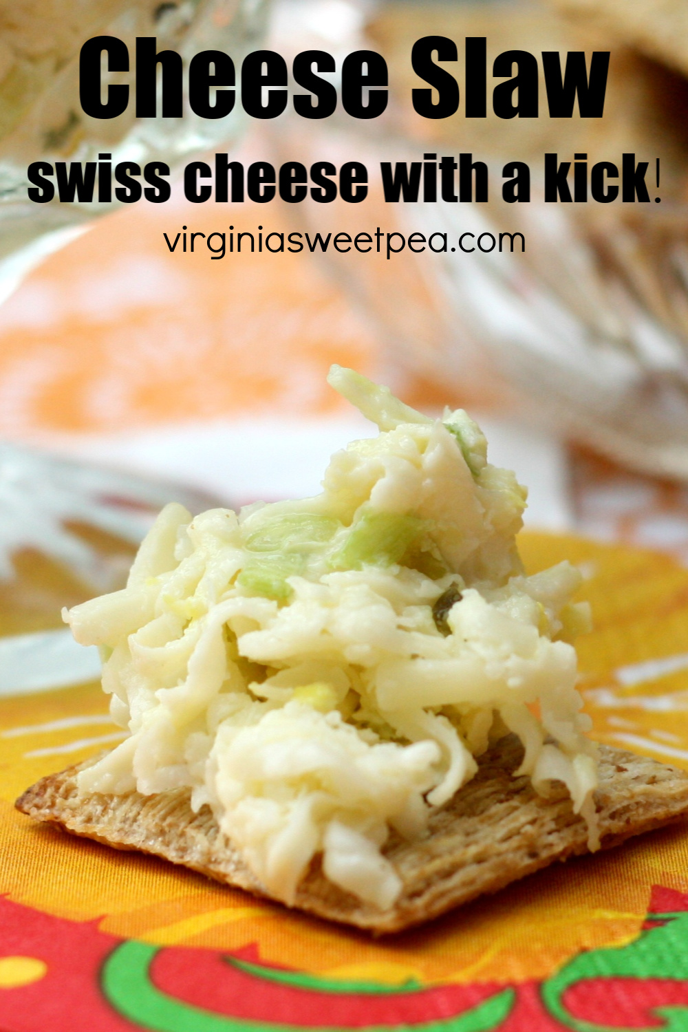 Cheese Slaw - This dip made with swiss cheese, green onion, jalapenos and pepperoncinis is always a hit at parties. Serve it on crackers, with Frito dippers, or on a baked potato. #dip #diprecipe #cheesespread #appetizer via @spaula