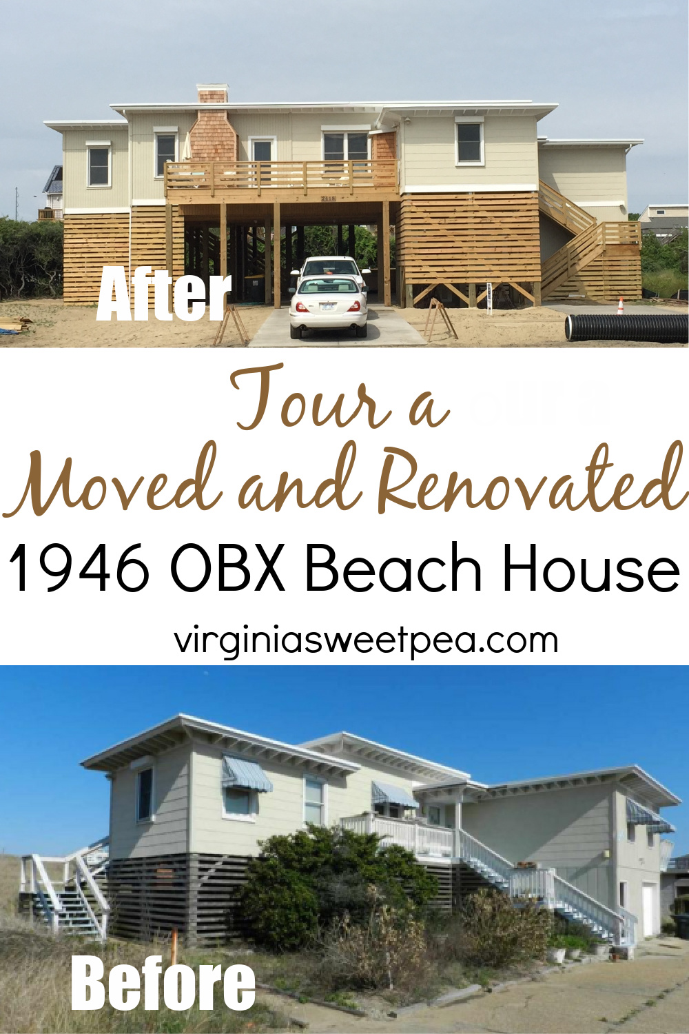 Tour a Moved and Renovated 1946 OBX Beach House - An Outer Banks home was saved from developers by moving it to a new lot.  The home was renovated and now is updated but still retained its vintage charm.  #outerbanks #obxhome  via @spaula