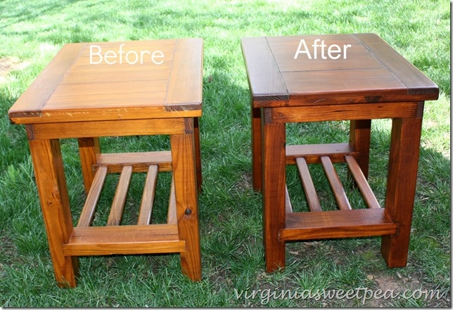 End tables purchased in the 1980's from Cargo Furniture get a makeover with General Finishes stain in Mahogany. virginiasweetpea.com