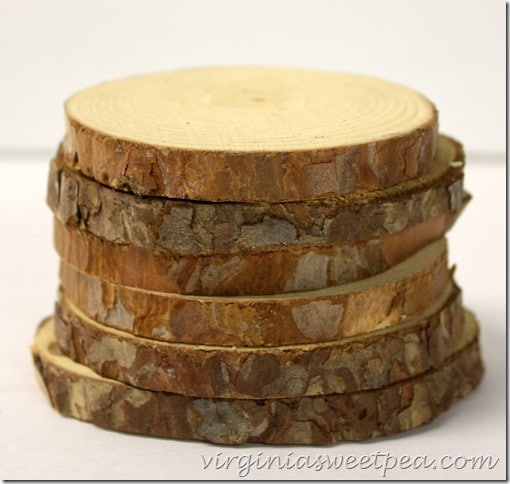Diy wood slice coasters with fall transfers sweet pea for How to cut wood slices