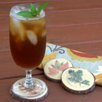 DIY Wood Slice Coasters with Fall Transfers