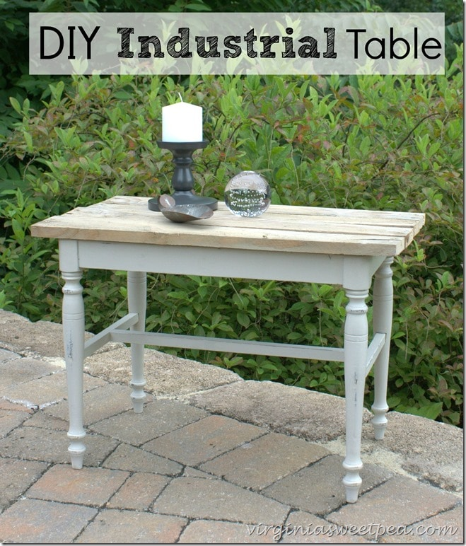 A vanity bench becomes a side table with paint and the addition of a pallet wood top. virginiasweetpea.com