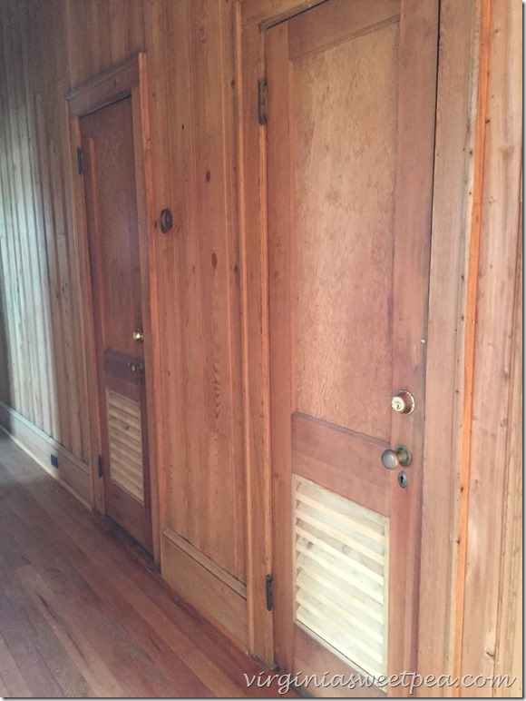 Hall doors in 1946 Nags Head home that has been moved and renovated.