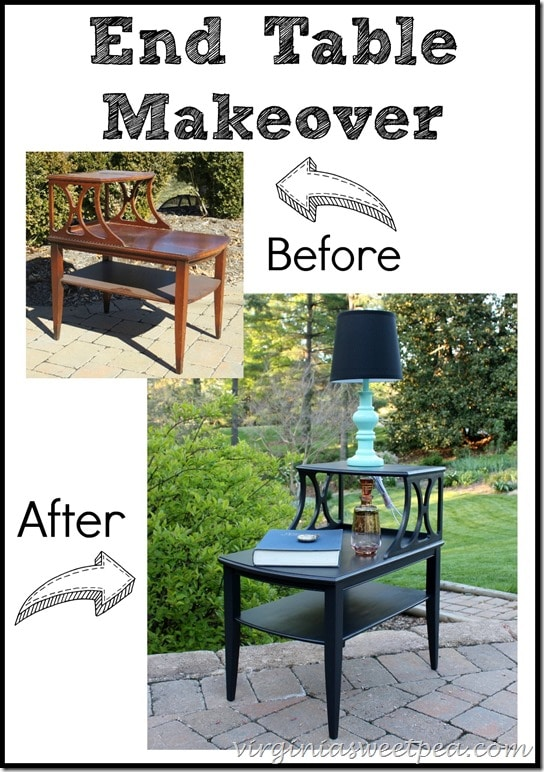 End Table Makeover with Velvet Finishes paint in Luxurious.  virginiasweetpea.com