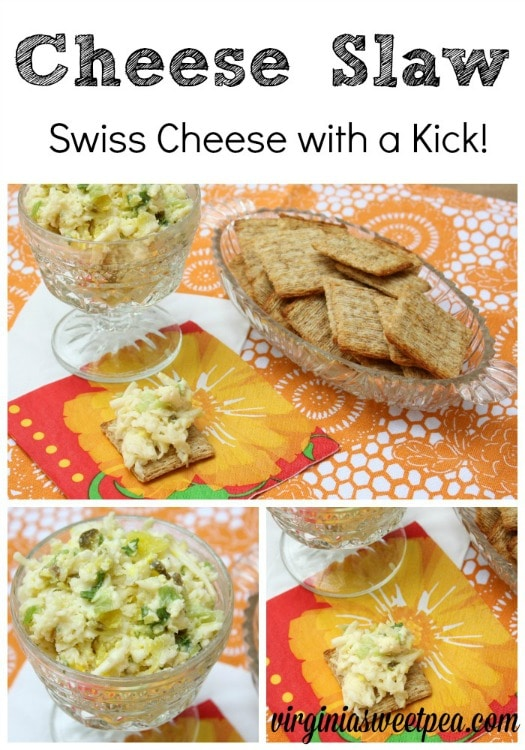Cheese Slaw is a delicious shredded swiss cheese dip with a kick. It's a crowd pleaser no matter who you serve. virginiasweetpea.com