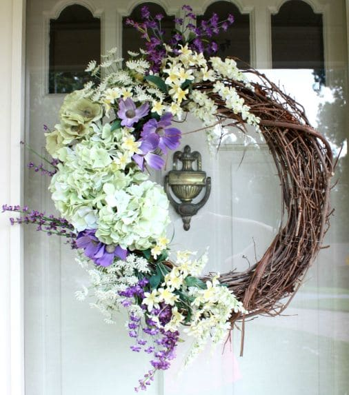 A front door always looks better with a wreath. This one came together quickly and would also look pretty for spring. virginiasweetpea.com