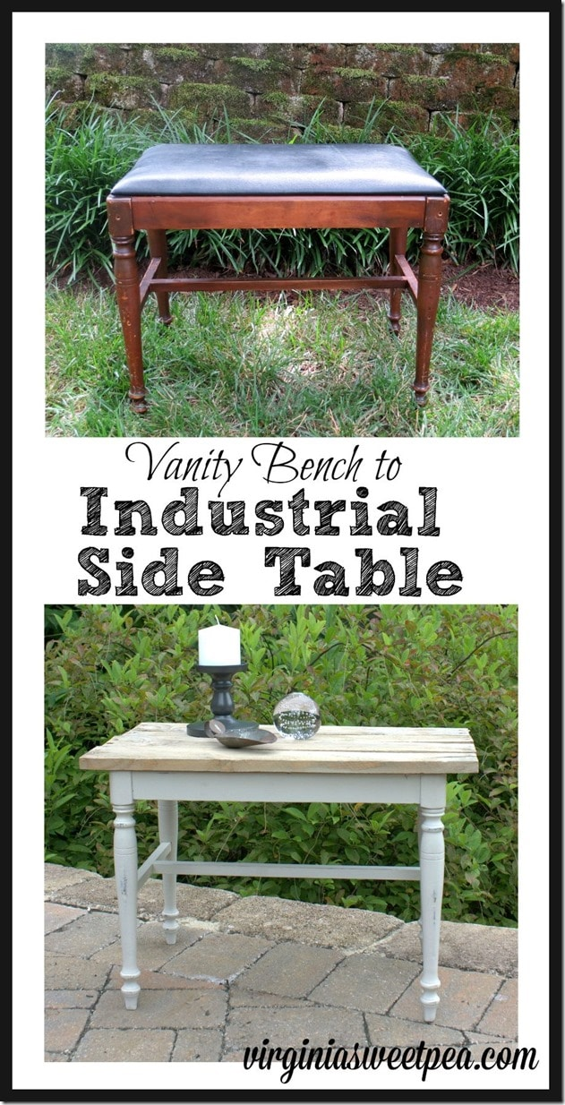 A sad vanity bench is transformed into a side table with a pallet wood top giving it an industrial flair. virginiasweetpea.com