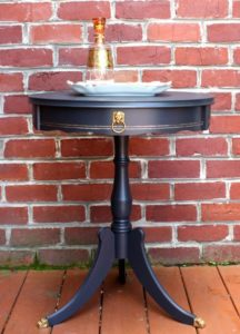 A vintage drum table gets a makeover with paint. virginiasweetpea.com