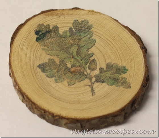 Coaster made from a wood slice with an oak leaf with acorn image on it.