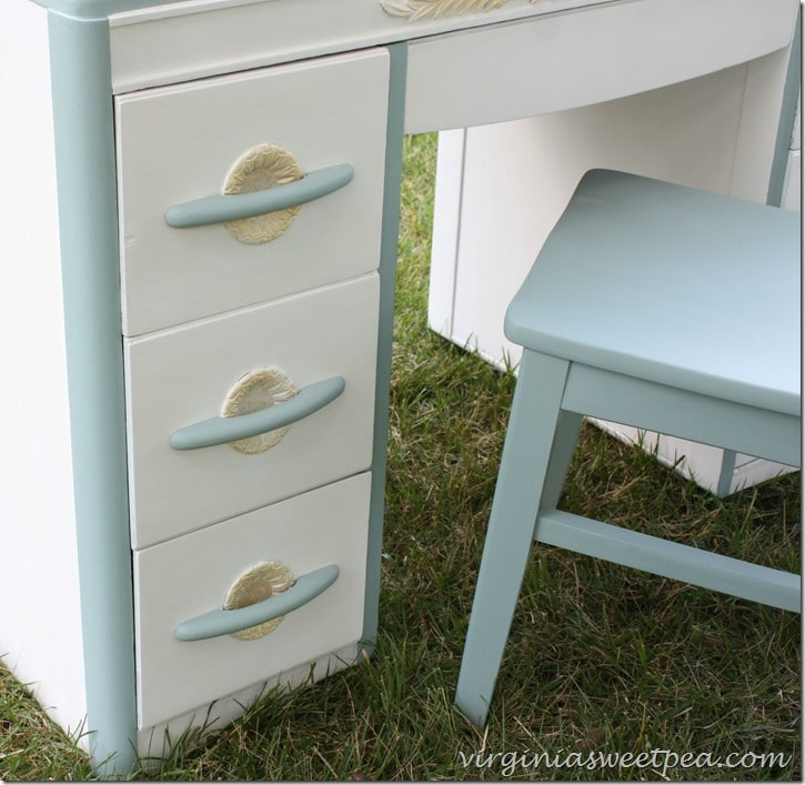 Goodwill Desk Makeover - Look at the Pretty Detail on the Drawers! virginiasweetpea.com