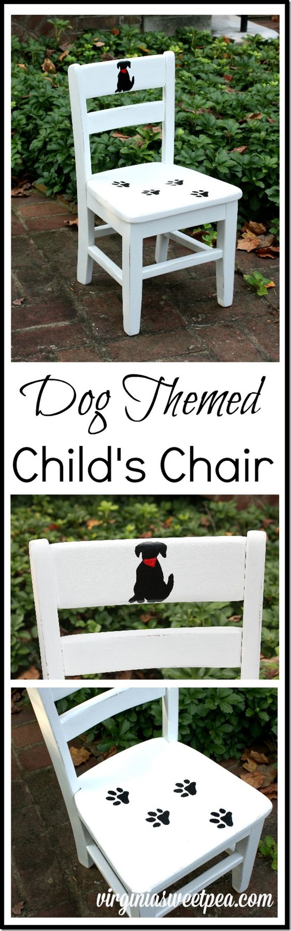 This child's chair painted with a dog theme is charming! virginiasweetpea.com