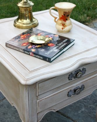 A found at Goodwill end table gets a makeover with paint and wax. virginiasweetpea.com