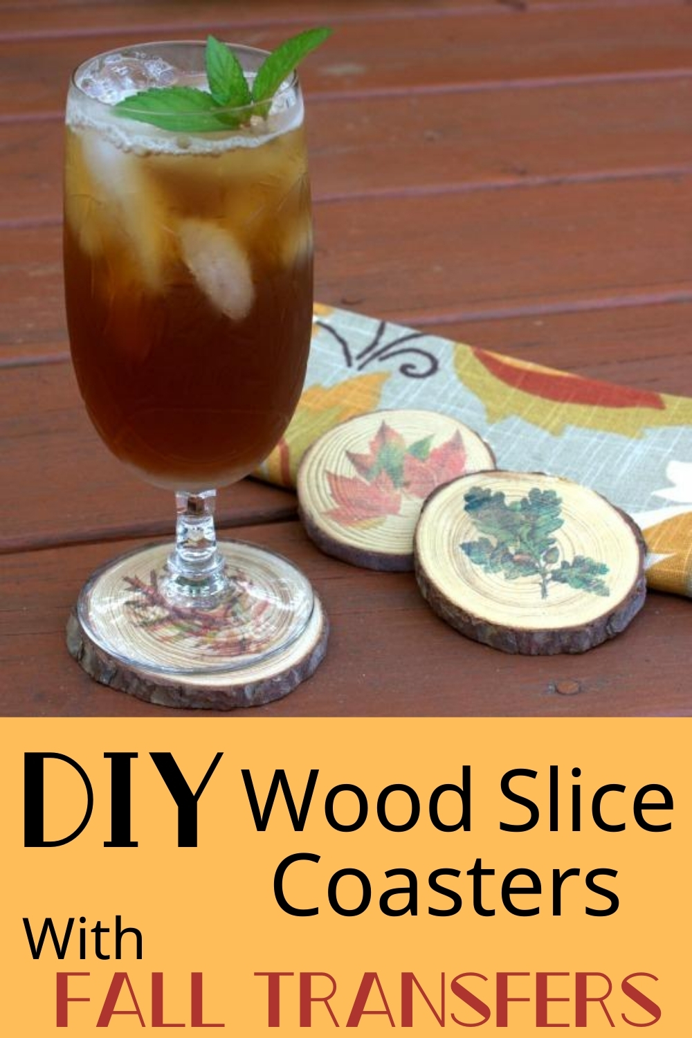 Learn how to make coasters using wood slices embellished with fall transfers. These coasters are useful and they are a unique home decor item for fall.  This is an easy craft and it makes a great gift!  #diycoaster #woodslice #fallcraft via @spaula