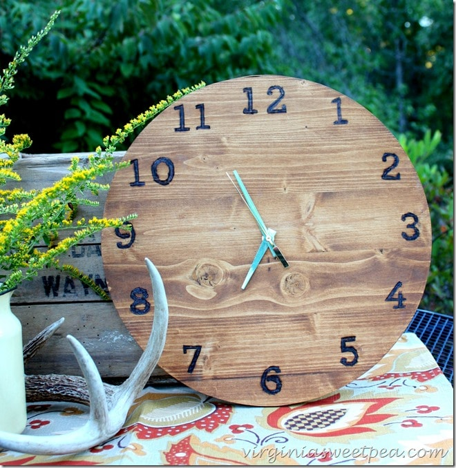 DIY Wood Clock with Wood Burned Numbers by virginiasweetpea.com