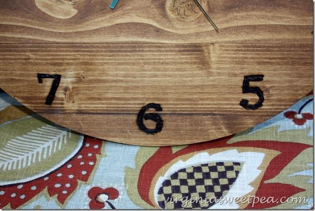 Wood Burned Numbers on a DIY Wood Clock by virginiasweetpea.com
