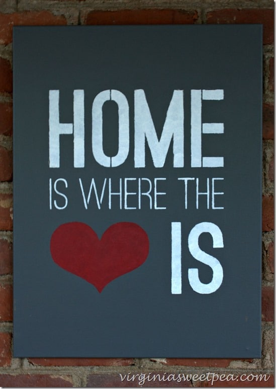 Home is Where the Heart Is Stenciled Sign - virginiasweetpea.com