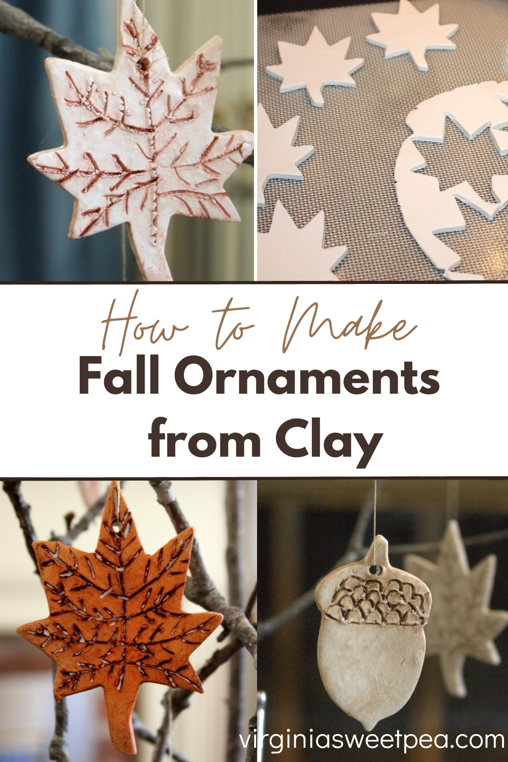 How to Make Fall Ornaments from Clay - Learn how to make decorative leaves from clay to use for fall decor.  #fallcraft via @spaula
