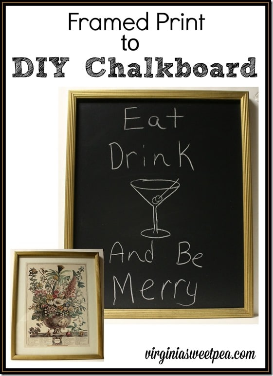 Learn how to make a chalkboard from a framed print.  It's easy!  virginiasweetpea.com