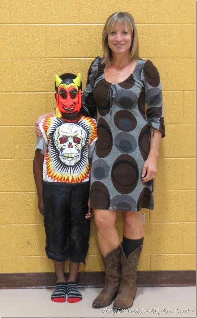 1970's Skeleton Costume with 1970's Devil Mask