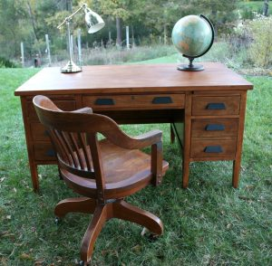 Refinished vintage teacher's desk and vintage office chair
