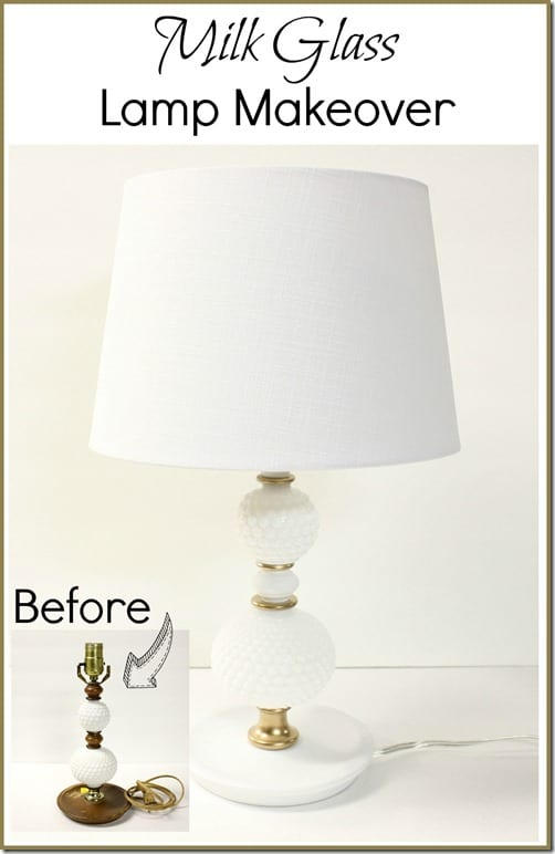 A milk glass lamp gets an easy makeover giving it a fresh look. This was a $3 thrift shop find!