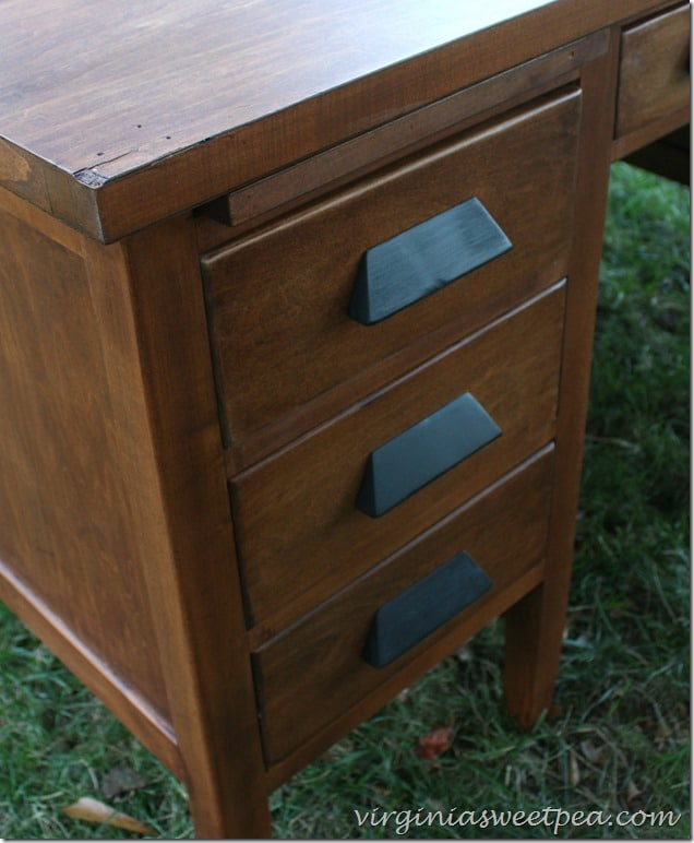 Antique Teacher's Desk Makeover - Drawer Detail - Look at those pretty  handles! - Vintage Teacher's Desk Makeover - Sweet Pea