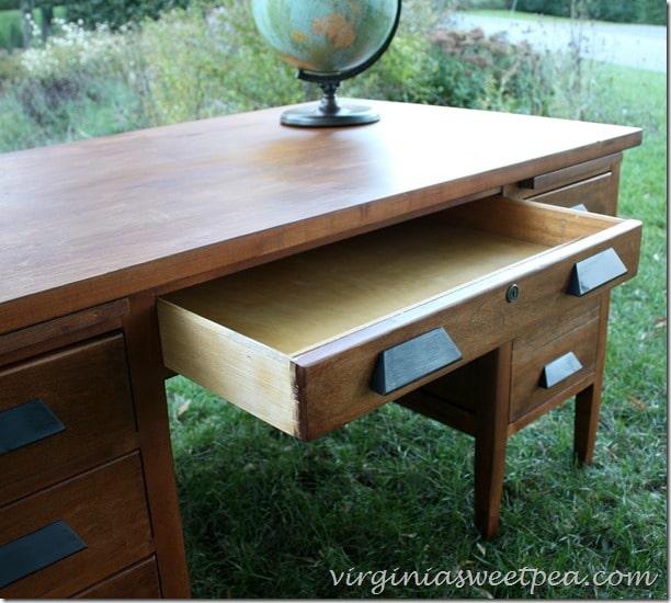 Antique Teacher's Desk Makeover - Middle Drawer Detail - Vintage Teacher's Desk Makeover - Sweet Pea