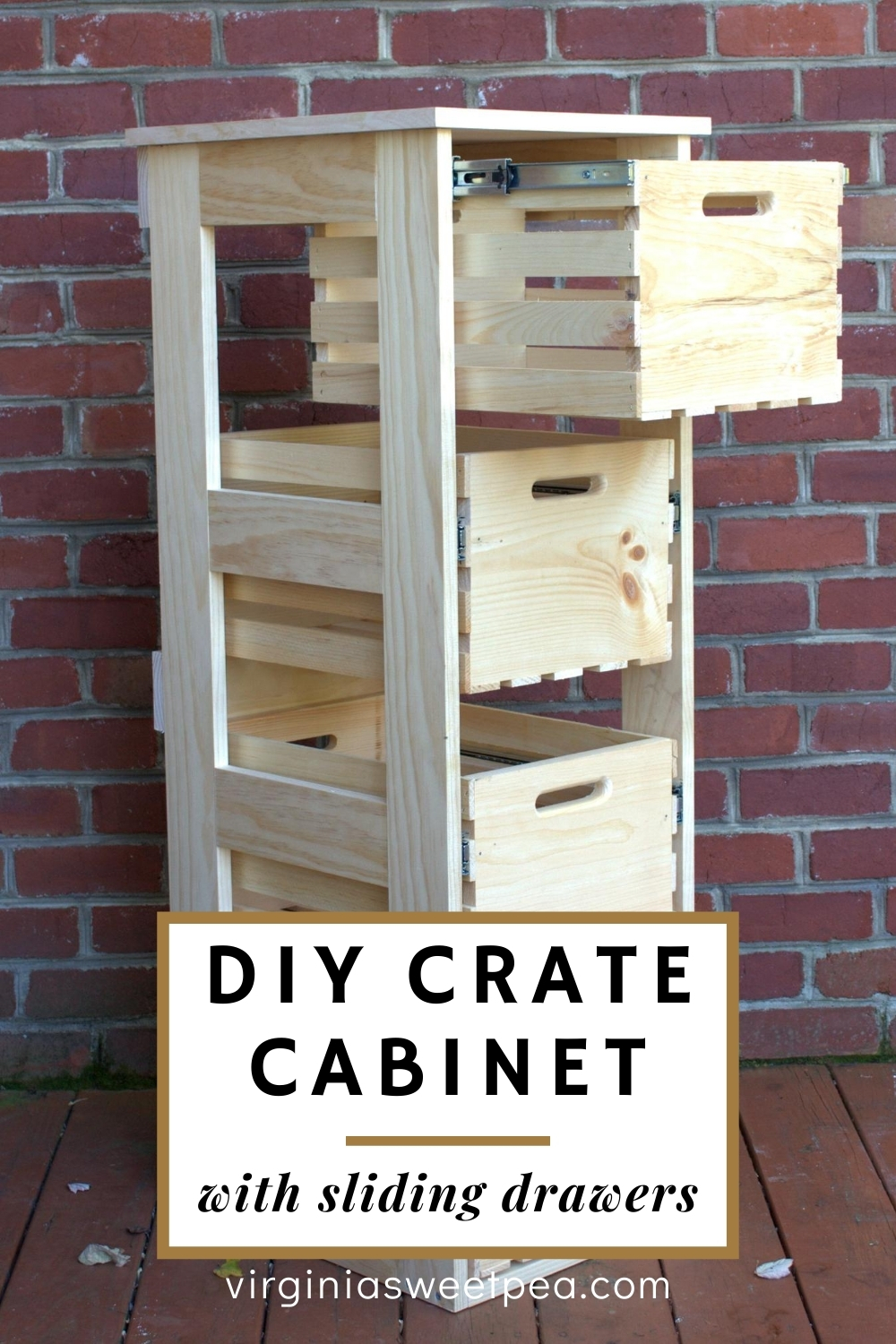 DIY Crate Cabinet with Sliding Drawers - Learn how to use wooden crates to create a crate cabinet. This is handy for storing so many things. #crateproject #cratecabinet #diyproject #woodworking via @spaula