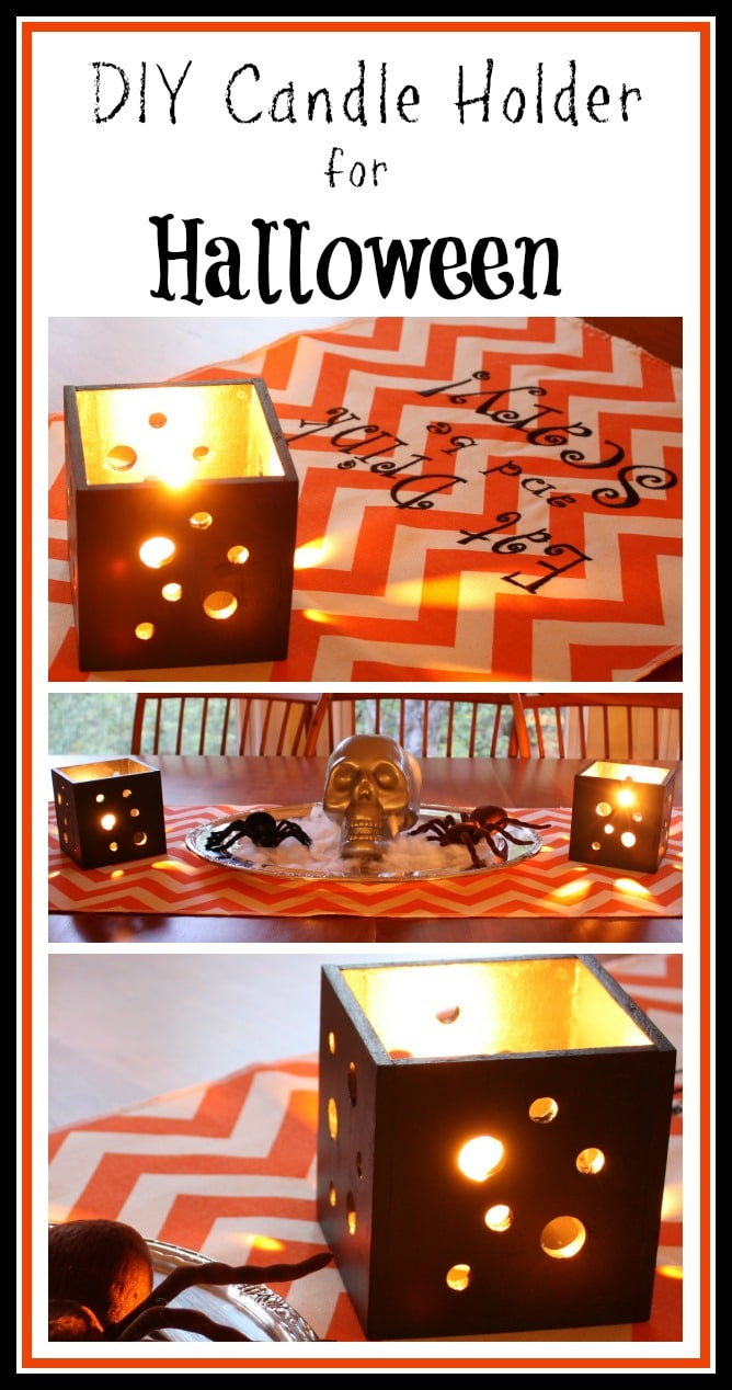 DIY Pierced Wood Candle Holder - Learn how to make a square candle holder with holes in the sides to let light from a candle shine through. via @spaula