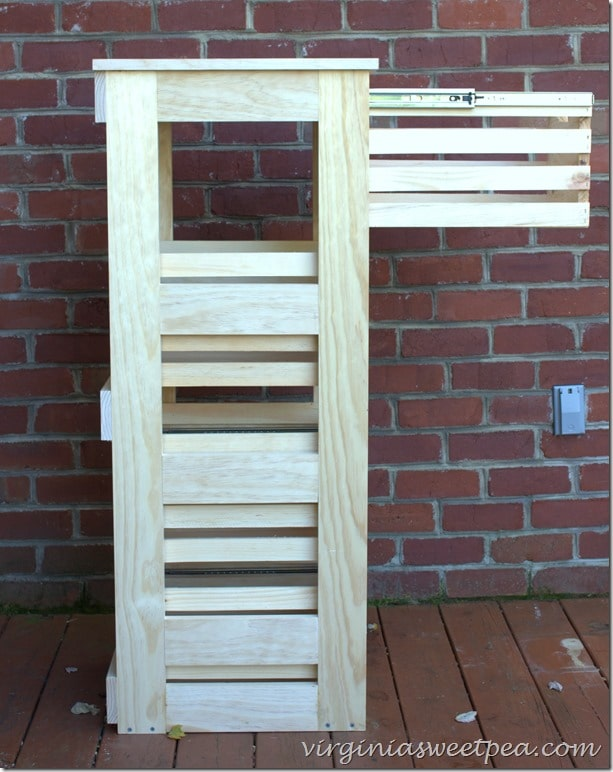 DIY Crate Cabinet with Drawers that Slide