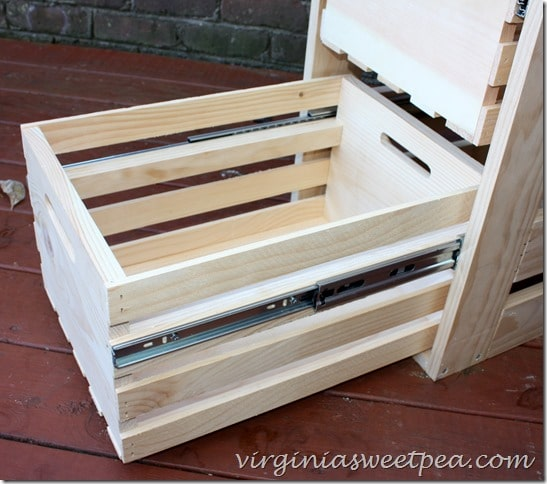 Diy crate cabinet with sliding drawers sweet pea for Sliding drawers for kitchen cabinets