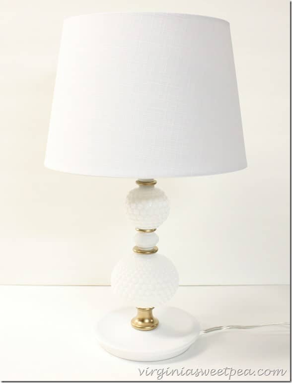 Milk Glass Lamp Makeover for Thrift Beneft