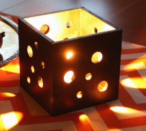 Pierced Wood Candle Holder for Halloween