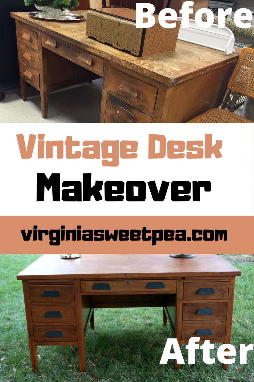 Vintage Desk Makeover - A Goodwill found vintage desk gets a makeover. #vintagedesk #vintageofficedesk #deskmakeover via @spaula