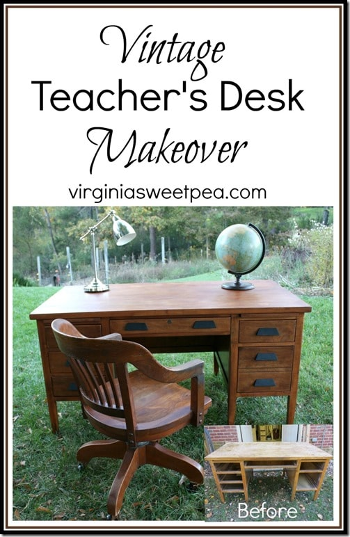 Vintage Teacher's Desk Makeover - A $25 found at Goodwill desk gets a makeover with stain and some TLC. It's so pretty now! virginiasweetpea.com
