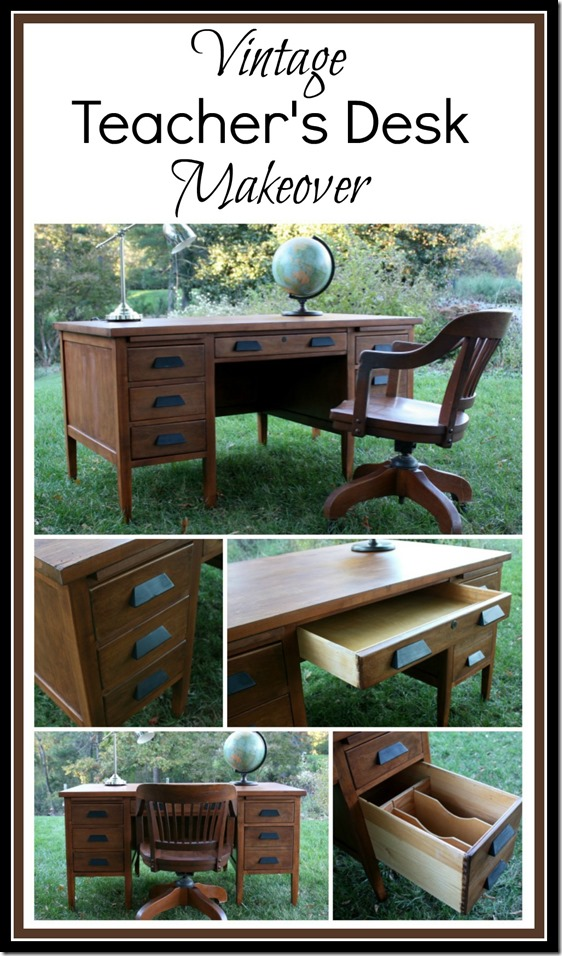 Vintage Teacher's Desk Makeover - This found at Goodwill desk got a  makeover with stain and - Vintage Teacher's Desk Makeover - Sweet Pea