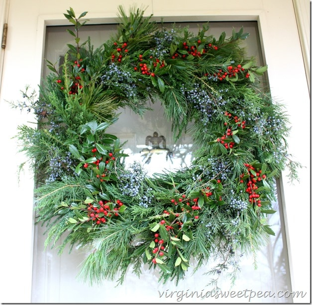 Christmas Wreath with Holly, Cedar, and other fresh greens