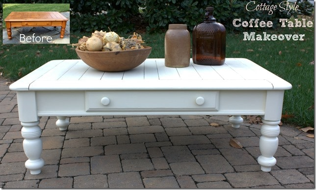 Cottage Style Coffee Table Makeover - This $5 yard sale find is now charming!