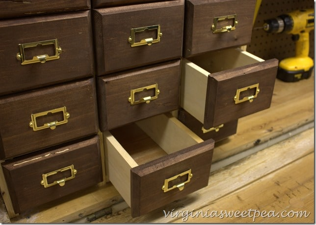 DIY Card Catalog Style Drawers for a DIY Work Bench
