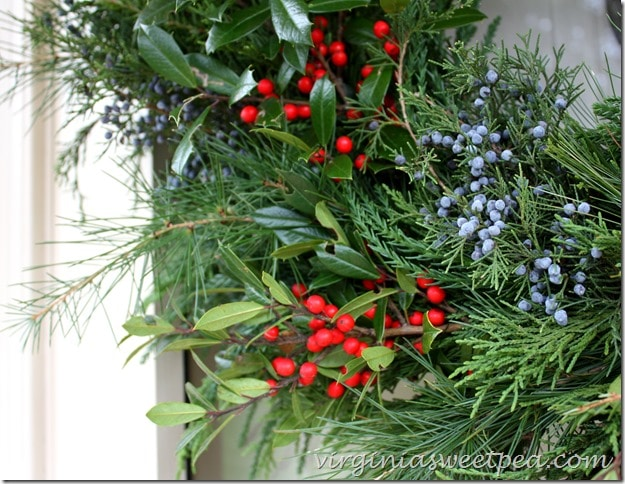 Holly and Cedar Berries added to Christmas Wreath - So pretty for Christmas!