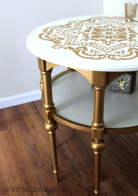 Gold and White Stenciled Table