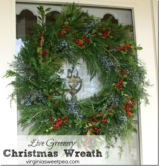 Live Greenery Christmas Wreath - This wreath is made using greenery with holly and cedar berry accents.