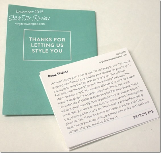 November 2015 Stitch Fix Style Card