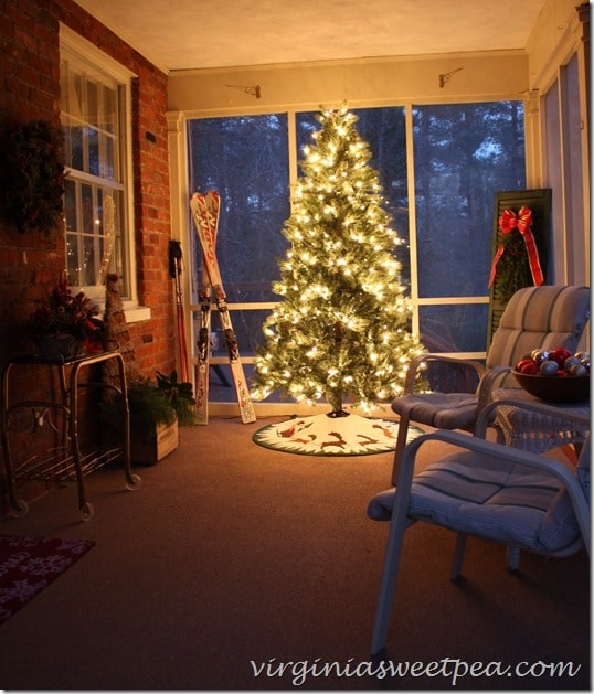 Our Porch Decorated for Christmas - It looks so pretty at night!