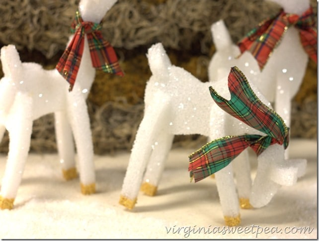 Sparkly Christmas Reindeer - Easy to make from styrofoam. Get the tutorial at virginiasweetpea.com