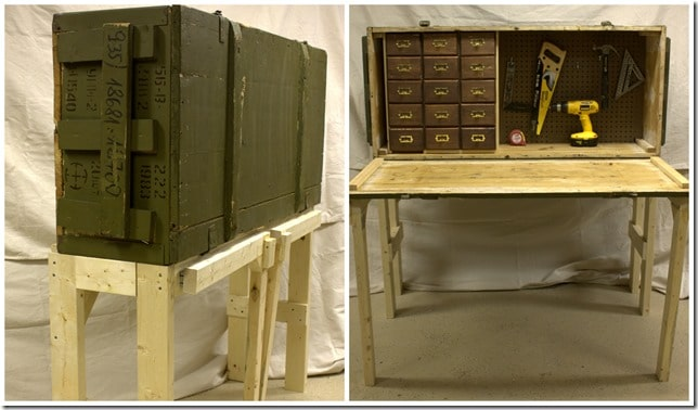 A Cold War era Russian rifle crate is repurposed into a workbench. Get the step-by-step tutorial to make one for your home. #repurpose #upcycle #repurposeproject #upcycleproject #ammunitioncrate