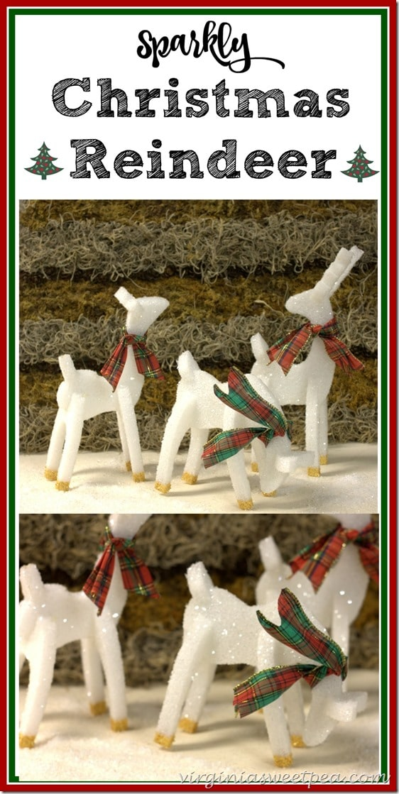 Learn how to make sparkly Christmas reindeer. These are crafted from styrofoam and are perfect for Christmas decor. virginiasweetpea.com