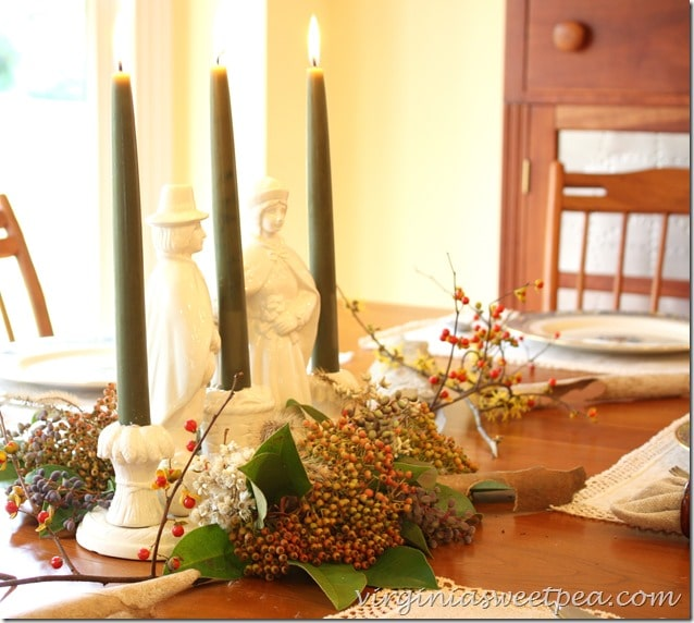 Thanksgiving Centerpiece using Vintage Pilgrim Pottery and Florals from Nature