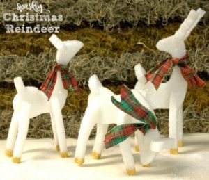 Sparkly Christmas Reindeer crafted from styrofoam