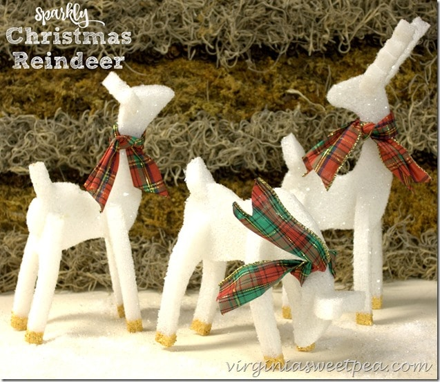 Sparkly Christmas Reindeer are perfect for Christmas decor. These guys are made from styrofoam and are then glittered. Get the full tutorial at virginiasweetpea.com